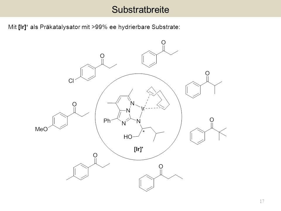Substratbreite Mit [Ir]' als Präkatalysator mit >99% ee hydrierbare Substrate: